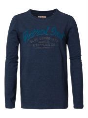 """Jungen T-Shirt Langarmshirt meliert mit geflocktem """"Petrol Ind. Schriftzug"""", blau  - B-FW18-TLR640"""