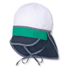 Jungen Schirmmütze zum Binden mit Nackenschutz, LSF 50+, weiß-marineblau - 1611930