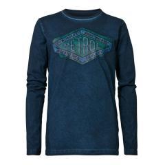 Jungen Langarmshirt Sweatshirt T-Shirt Petrol Ind. mit Aufdruck, dunkelblau mel. - B-3090-TLR606