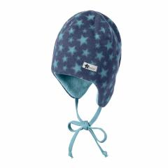 Baby Jungen Wintermütze mit Ohrenschutz zum Binden gefüttert Mikrofleece Sternenmuster, tintenblau - 4501842