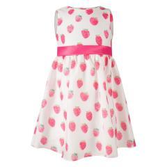"""Mädchen Sommerkleid Festmode festliches Kleid kurzarm """"Erdbeere"""" ,weiß-pink -911517"""