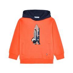 "Mayoral Jungen Sweatshirt Pullover langarm mit Kaputze ""Rakete"", orange - 4409"