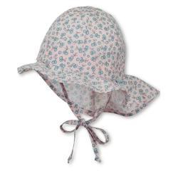 Mädchen Sommermütze zum Binden mit Nackenschutz, Flapper UV-Schutz 30, rosa Blümchen - 1401922