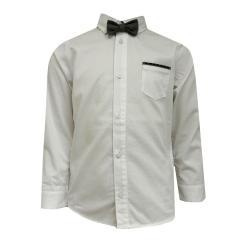 Junge festliches langarm Hemd mit Krawatte (ohne Weste), weiß