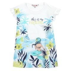 Boboli Mädchen Sommerkleid mit Meerjungfrau-Motiv, weiß – 477110