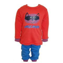 Waschbär Langarm Schlafanzug Jungen, blau-orange