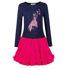 "Mädchen Kleid Winterkleid langarm Tüllrock ""Schmetterlinge"", pink-dunkelblau - 913150"