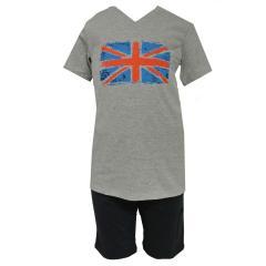 Jungen Schlafanzug kurzer Pyjama Englandfahne, Grau