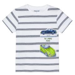 "Jungen T-Shirt 100% Baumwolle gestreift ""Autos"", weiß/dunkelblau – 3029grü"