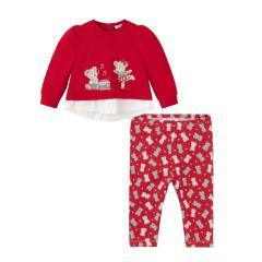 """Mayoral Mädchen Baby Set 2 Teilig mit Bären gepunkteten Leggins und Sweatshirt mit Rundkragen langarm """"2 Bären Musik"""", rot - 2721"""