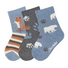 "Jungen Söckchen Baumwoll-Socken im 3er Pack, mittelblau mel. ""Fuchs Bär"" - 8421922"