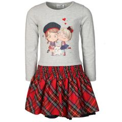 Eisend-Mädchen Langarm Kleid- Rot-Grau-903128