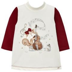 Mädchen Kleid mit langen Armen  Winterkleid, rot - 2.946ro