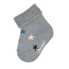 """Baby Jungen Babysöckchen Erstlingssöckchen Plüsch Socken """"Sterne"""", silbergrau - 8301900"""