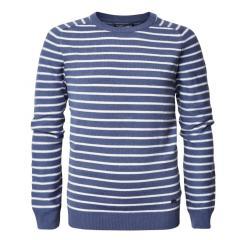 Jungen Pullover Jersey Strickpullover Langarmshirt mit Streifen, blau - B-PS19-KWR282