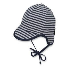 Jungen Baby Schirmmütze, Sommermütze zum Binden, UV-Schutz 50+, dunkelblau/grau - 1611901