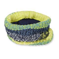 Jungen Strick-Schlupfschal Winter Halstuch Schal Loop gefüttert Microfleecefutter gestreift, marineblau neongrün weiß - 4261901