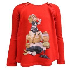Sweater Mädchen Sweatshirt mit Mädchen Motiv, rot