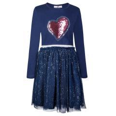 """Mädchen Kleid Winterkleid langarm Glitzer """"Paillettenherz"""", dunkelblau - 913168"""