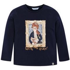 Mädchen Shirt mit langen Armen, dunkelblau - 4062