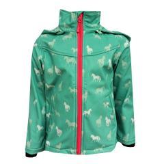 Mädchen Softshelljacke Regenjacke mit Kapuze Pferde-Motiv 10.000 mm Wassersäule, grün - 8470509