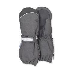 Jungen Stulpen-Handschuhe gefüttert Microfleecefutter Fausthandschuhe mit reflektierendem Klettverschluss und Reißverschluss wasserdicht atmungsaktiv, anthrazit - 4321915