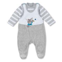 Baby Jungen Strampler mit Langarmshirt von Sterntaler mit Eselmotiv, Grau - 5601731