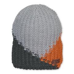 Jungen Strickmütze mit Microfleece-Einsatz, silbergrau orange - 4721908