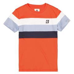 Jungen Sommer kurzarm T-Shirt bunte Streifen ,orange -B13606