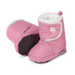 Baby Schuhe Mädchen gefüttert mit rutschfester Sohle, wasserabweisend, Klettverschluss mit glitzerndem Stern, perlrosa - 5101802