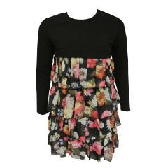 Mädchen Festkleid Langarm Tüll Blumen, schwarz