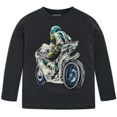 Jungen Langarmshirt mit Motorrad Motiv, dunkelblau - 4.030db