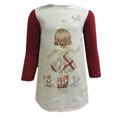 Baby Mädchen Kleid Langarm mit Feen Motiv, weinrot - 2942