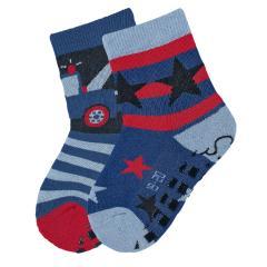 """Jungen Baby ABS-Söckchen 2er Pack Anti-Rutsch-Socken Strümpfe mit rutschfester Sohle """"Abschleppauto/Sterne"""", blau - 8101920"""