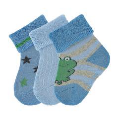"Baby Jungen Socken Plüsch 3er-Pack Babysöckchen Erstlingssöckchen 3 Paar gefüttert ""Frosch"", samtblau – 8302021"