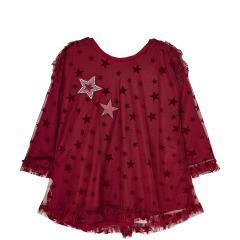 Mädchen Kleid mit langen Ärmeln Winterkleid mit Sternen und Rüschchen, rot - 4.960r