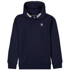 Jungen Sweatshirt Pullover mit Logobadge und Kapuze, blau - Z3030