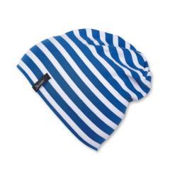 Slouch-Beanie Mütze Jungen gestreift, kristallblau - 1521700