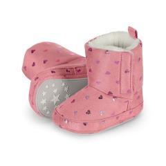 """Baby-Schuhe Winterschuhe Mädchen Stiefel rutschfeste Sohle gefüttert mit Klettverschluss Wildlederoptik """"Glitzerherzen"""", rosa - 5301911"""