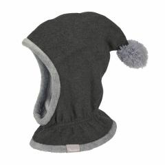 Jungen Mütze Wintermütze Schalmütze Fleece, grau - 4521645