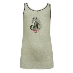 Mädchen Unterhemd Tank Top Pferdemotiv, beige