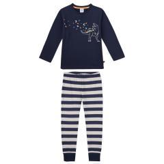 """Jungen Schlafanzug Langarmshirt  """"Dino""""-Print und geringelte Hose, blau - 232844"""
