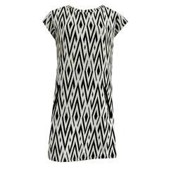 Mädchenkleid Etuikleid kurzarm schwarz-weiß gemustert, schwarz - 573326