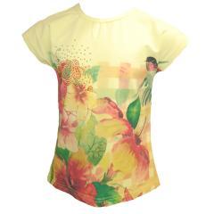 T-Shirt kurzärmlig Blumen-Motiv Mädchen, gelb
