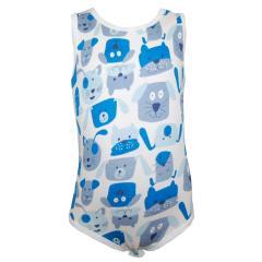 Body Baby Jungen Ärmellos Hunde, weiß-blau