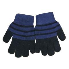 Kinder Fingerhandschuhe Mädchen Strick gestreift, blau - 9503803