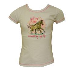 Mädchen T-Shirt Kurzarm Pferdemotiv, weiß