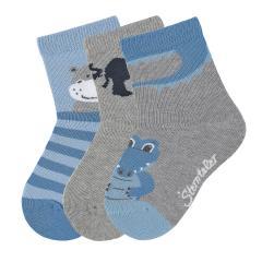 """Jungen Baby 3 Paar Söckchen Socken 3er-Pack """"Krokodil/Elefant/Nilpferd"""", silbergrau, blau - 8322022"""