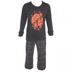 Indianer Langarm Schlafanzug Jungen, dunkelblau