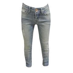 Jeans Mädchen Superslim verstellbarer Bund, blau